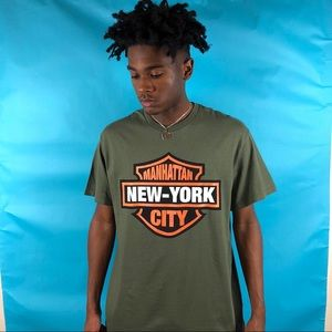 Harley Davidson style Manhattan New York tee Large